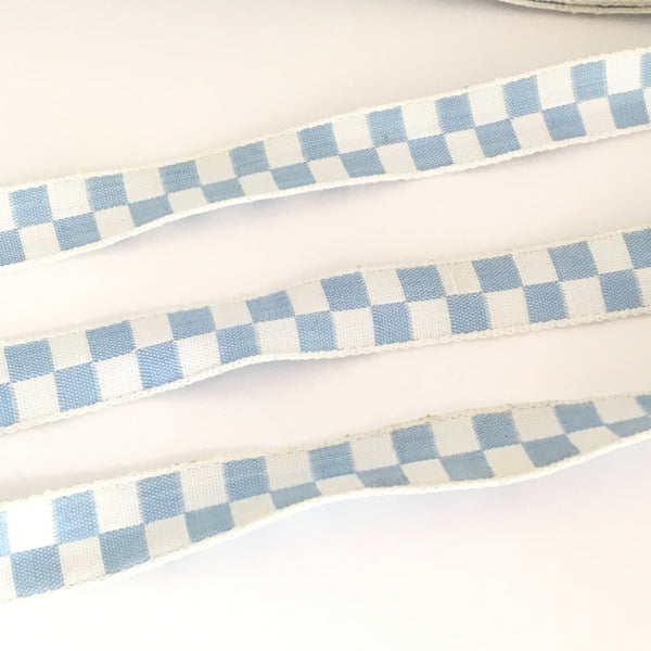 "FRENCH Sky Blue White CHECKERED Gingham JESTER 2/3"" Ribbon Circus Clown Vintage Costuming Cotton 1940s Pin Up Girl Burlesque Showgirl Rockabilly"
