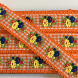 "Vintage Orange White Yellow Floral Dirndl 1 1/8"" Trim Ribbon"