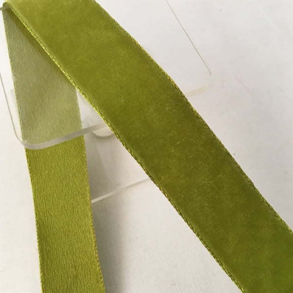 "Vintage Chartreuse Green 7/8"" Satin Backed Velvet Ribbon"