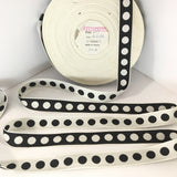"FRENCH Black White 1"" Large Polka Dot Ribbon Circus Clown Vintage Costuming Cotton 1940s Pin Up Girl Burlesque Showgirl"