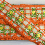 "Vintage Orange White Plaid Yellow Rose Swag Fringe Dirndl 1 5/8"" Trim Ribbon"