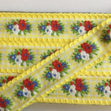 "Vintage Yellow White Floral Gingham Dirndl 1 1/8"" Trim Ribbon"
