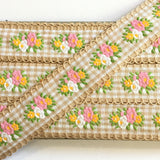 "Vintage Tan White Floral Gingham Dirndl 1 1/8"" Trim Ribbon"