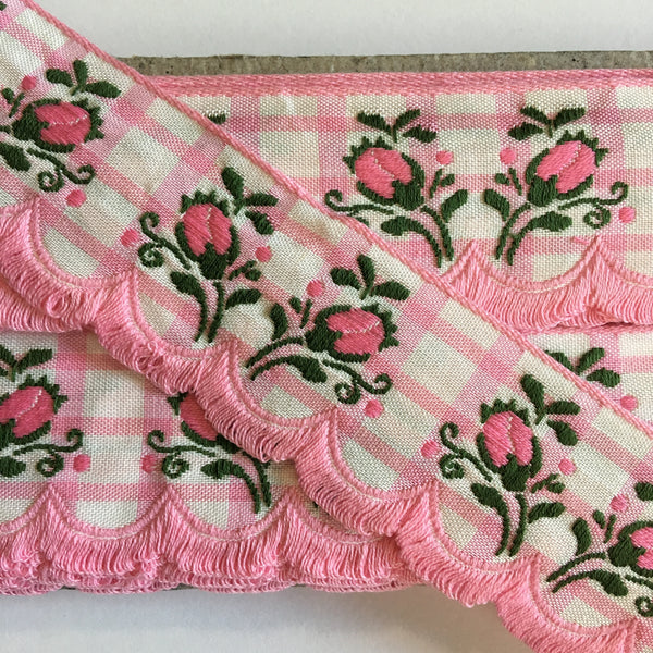 "Vintage Pink White Plaid Rose Swag Fringe Dirndl 1 5/8"" Trim Ribbon"