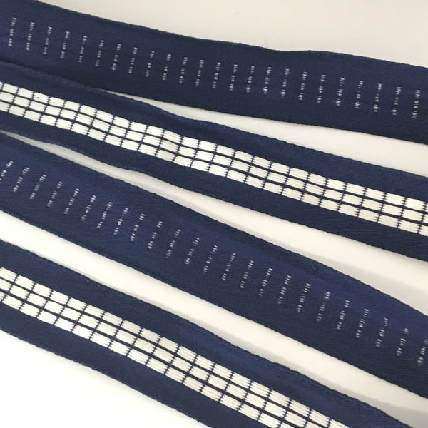 "Vintage 7/8"" French Navy Blue White Checked Gingham Jacquard"