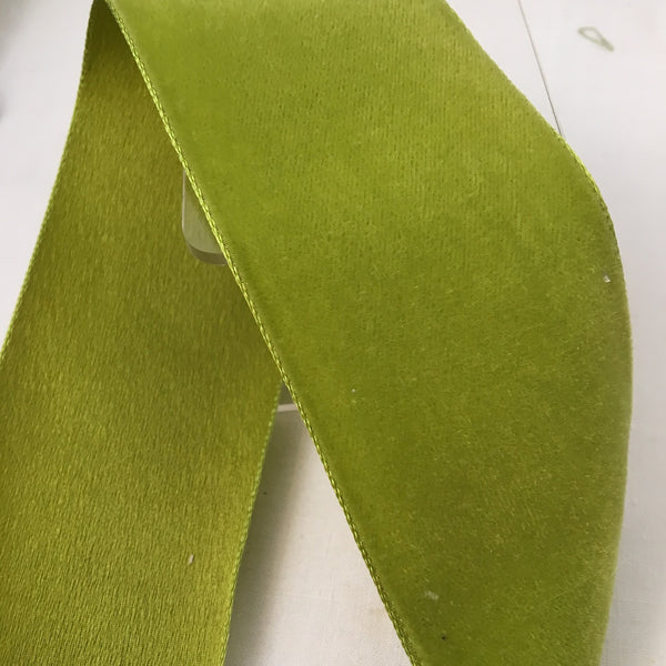"Vintage Chartreuse Green 2"" Satin Backed Velvet Ribbon"
