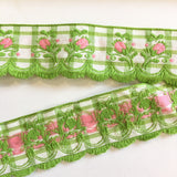 "Vintage Lime Green White Plaid Pink Rose Swag Fringe Dirndl 1 5/8"" Trim Ribbon"