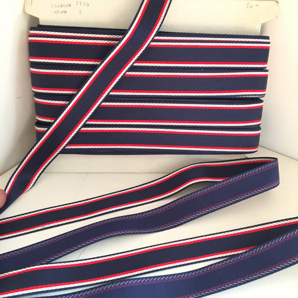 "Vintage 7/8"" French Polished Cotton Navy Blue Red White Jacquard Ribbon Belting"