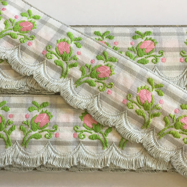 "Vintage Grey White Plaid Pink Rose Swag Fringe Dirndl 1 5/8"" Trim Ribbon"