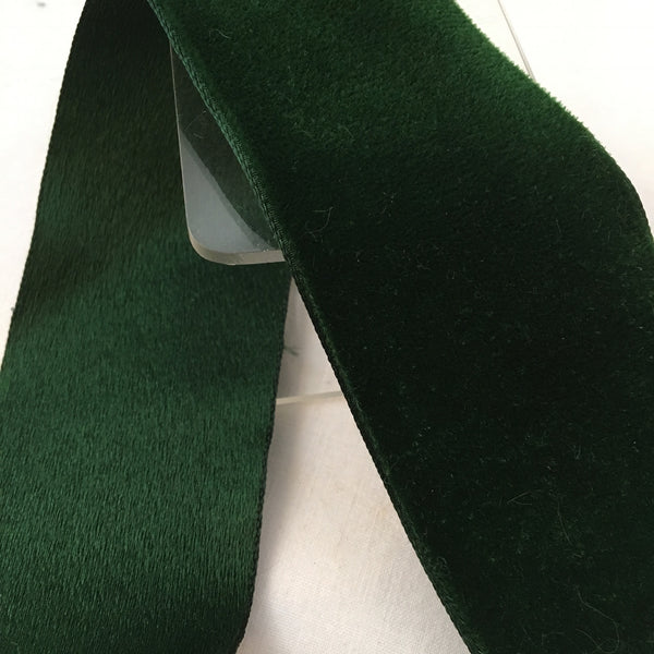 "Vintage Forest Green 2"" Satin Backed Velvet Ribbon"