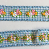 "Vintage Light Blue White Floral Gingham Dirndl 1 1/8"" Trim Ribbon"