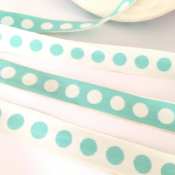 "FRENCH TIFFANY BLUE White 1"" Large Polka Dot Ribbon Circus Clown Vintage Costuming Cotton 1940s Pin Up Girl Burlesque Showgirl"