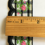"Vintage Black White Plaid Pink Rose Swag Fringe Dirndl 1 5/8"" Trim Ribbon"