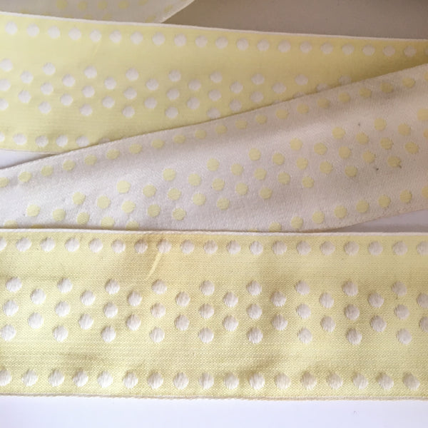 "Vintage FRENCH Butter Yellow White 2.25"" Wide POLKA DOTS Rockabilly Ribbon Circus Clown Costuming Belt Cotton 1950s Pin Up Girl Stage Burlesque Hot"