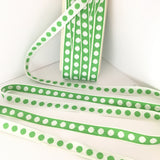 "FRENCH Green White 5/8"" Large Polka Dot Ribbon Circus Clown Vintage Costuming Cotton 1940s Pin Up Girl Burlesque Showgirl"