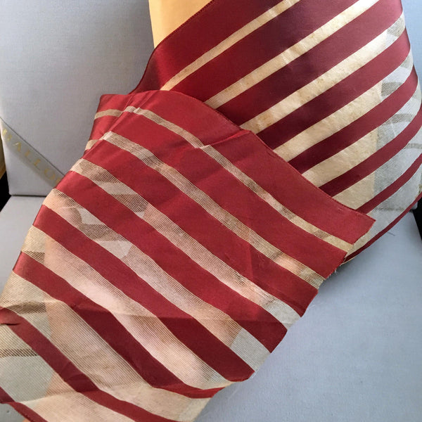 antique burgandy red white ivory striped satin silk organza ribbon extra wide
