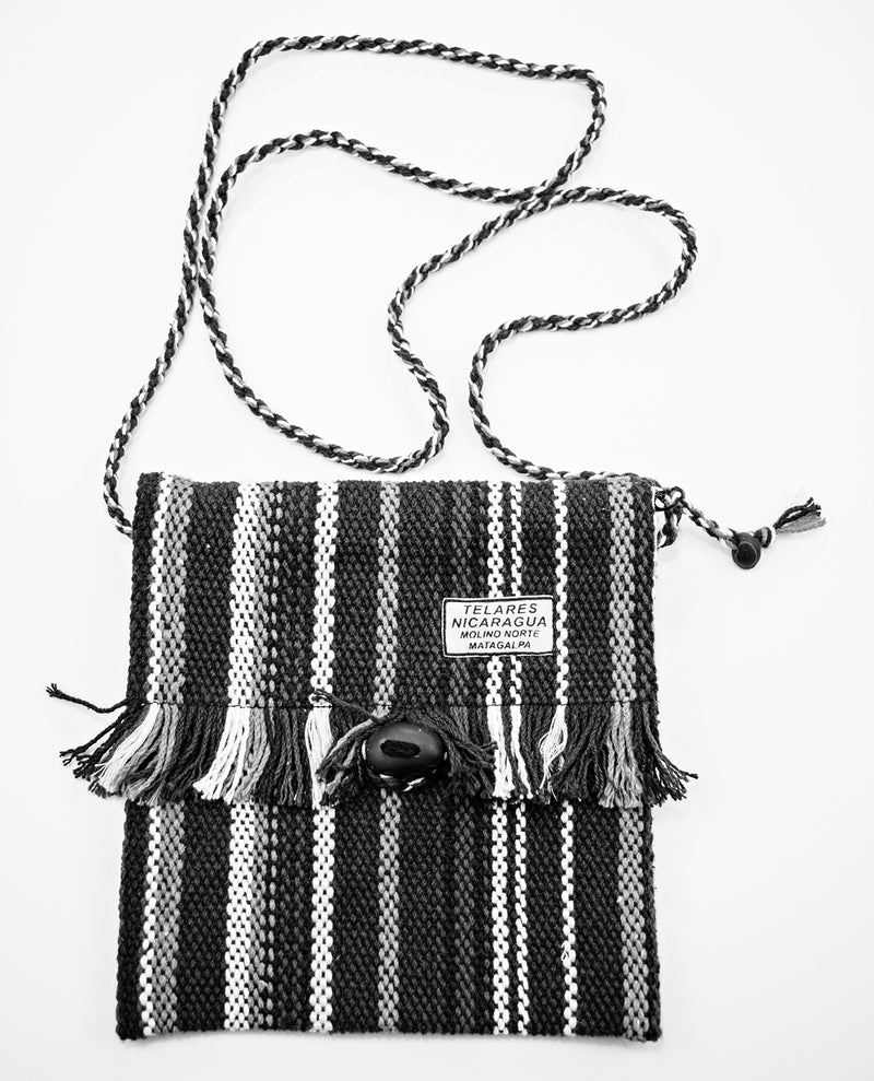 Fringe small purse - black/green/yellow