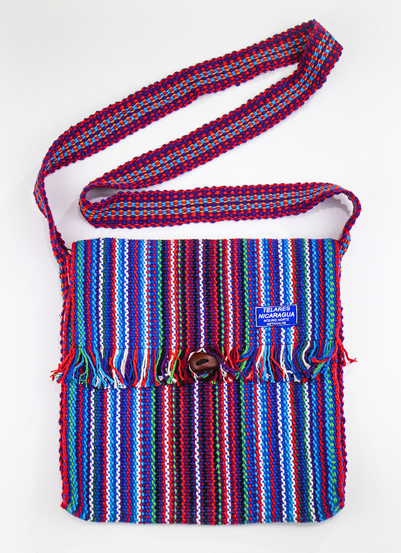 Fringe messenger bag - blue/red