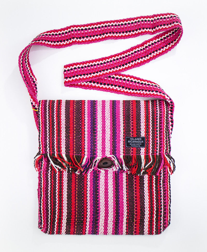 Fringe messenger bag - pink/red