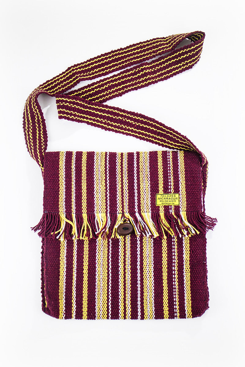 Fringe messenger bag - dark red/yellow