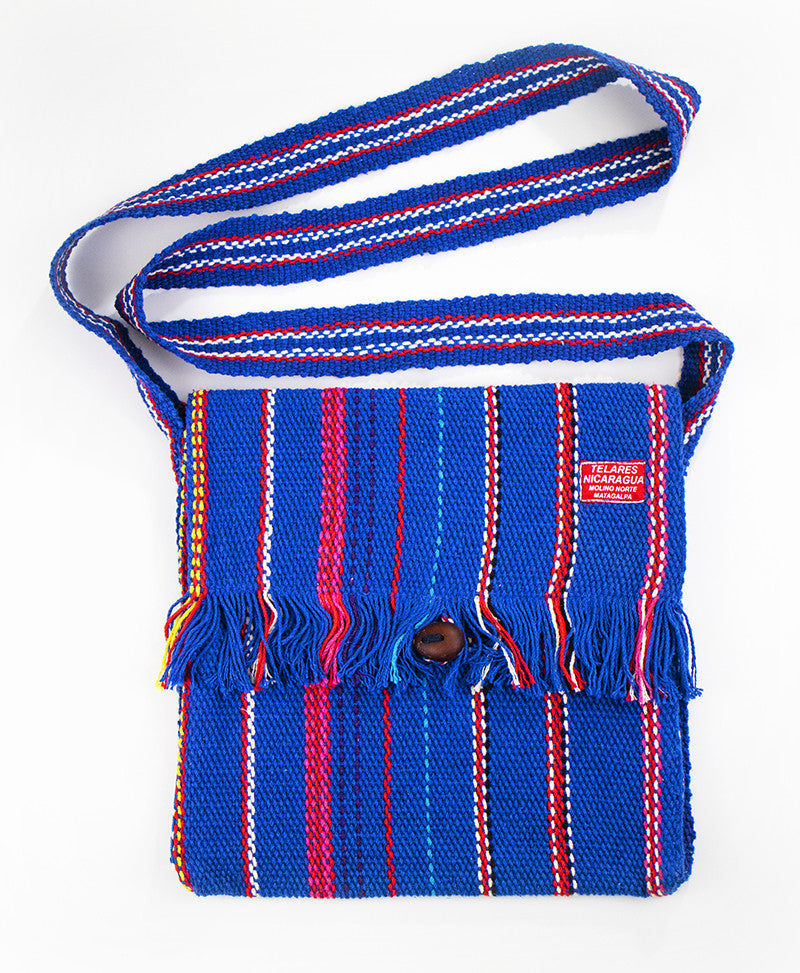 Fringe messenger bag - red/blue/white