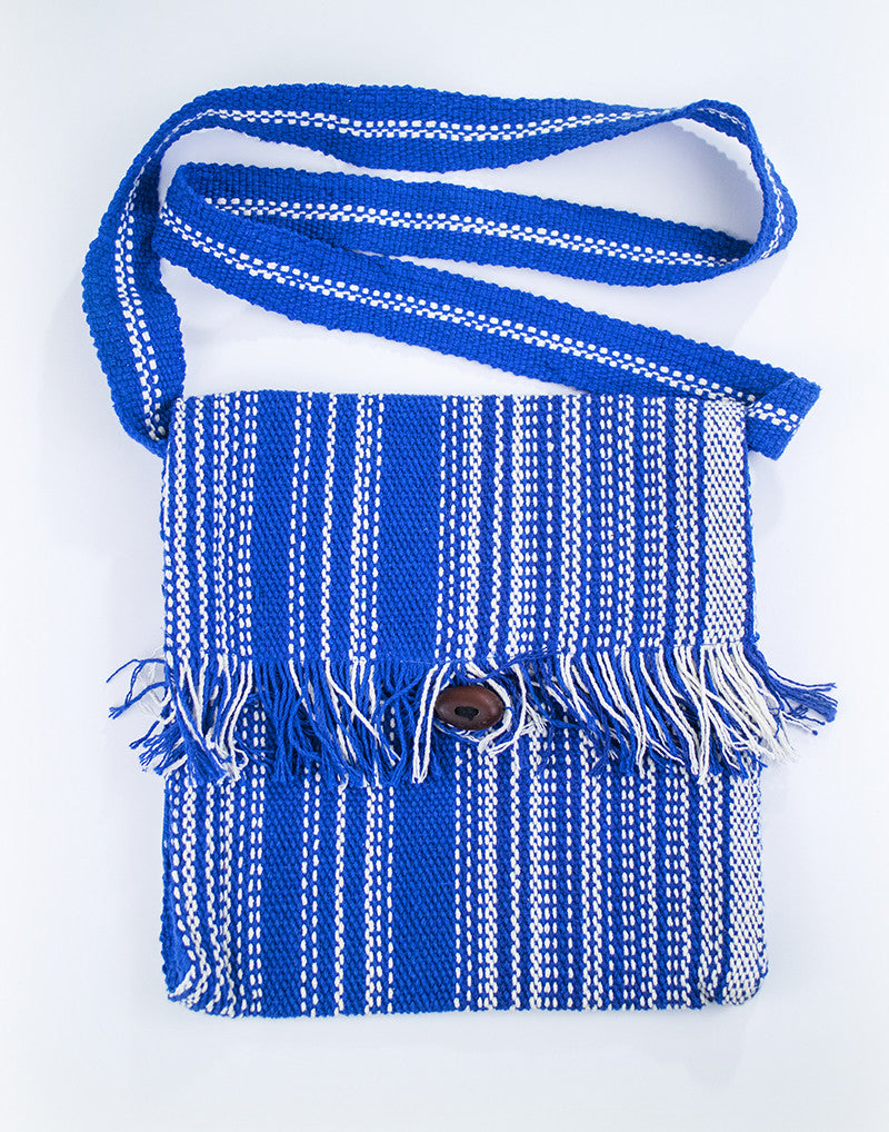 Fringe messenger bag - blue/white