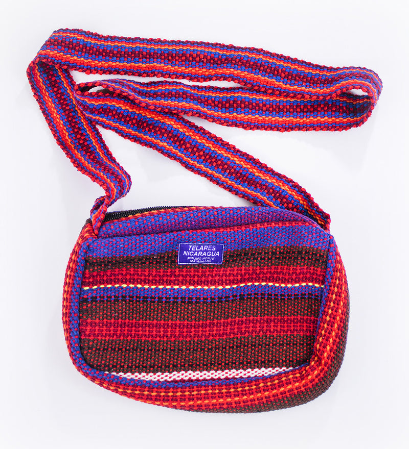 Small purse with shoulder strap - red/purple