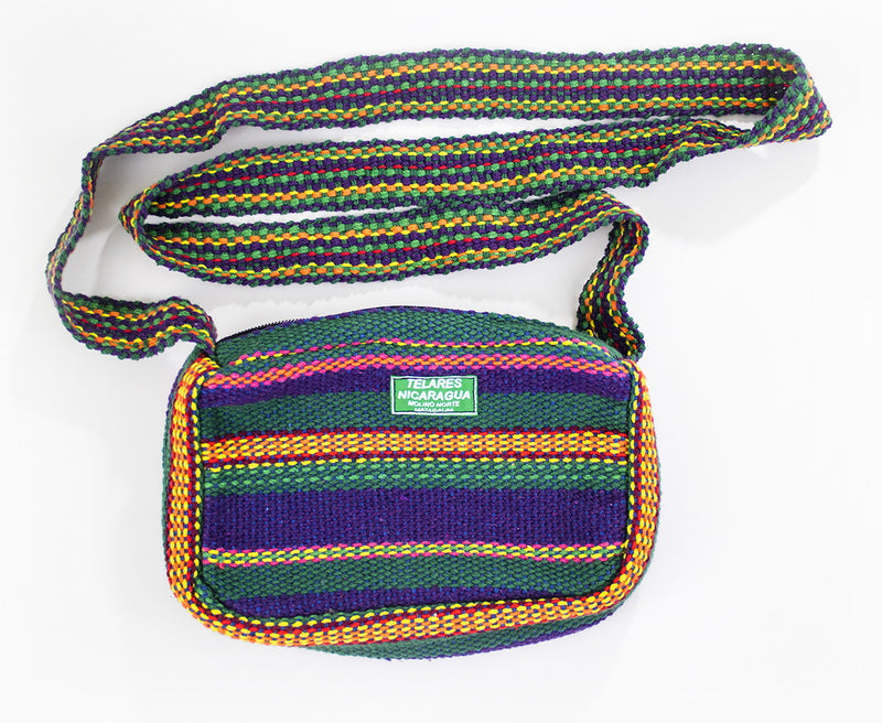 Small purse with shoulder strap - green/purple/yellow