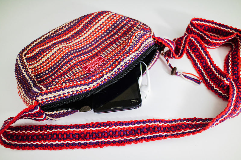 Small purse with shoulder strap - red/white/purple