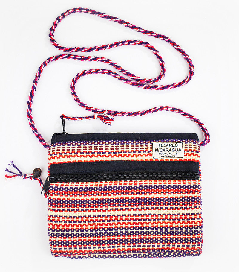 Small purse slim shoulder strap - purple/orange/white