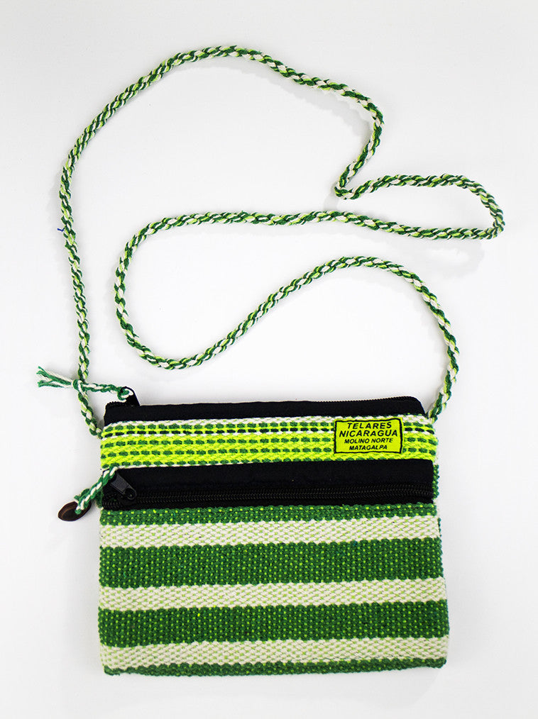 Small purse with slim strap - green/white/black