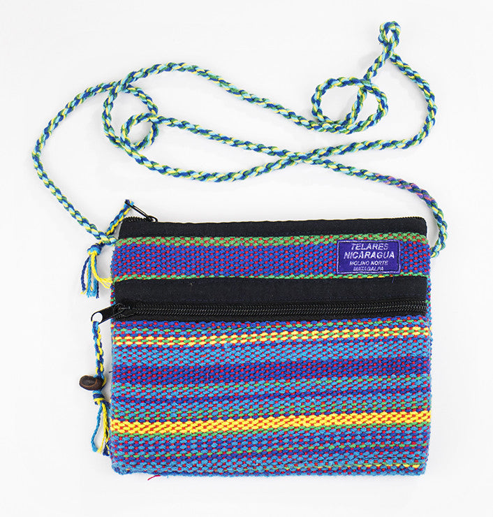 Small purse with slim shoulder strap - blue/purple/yellow