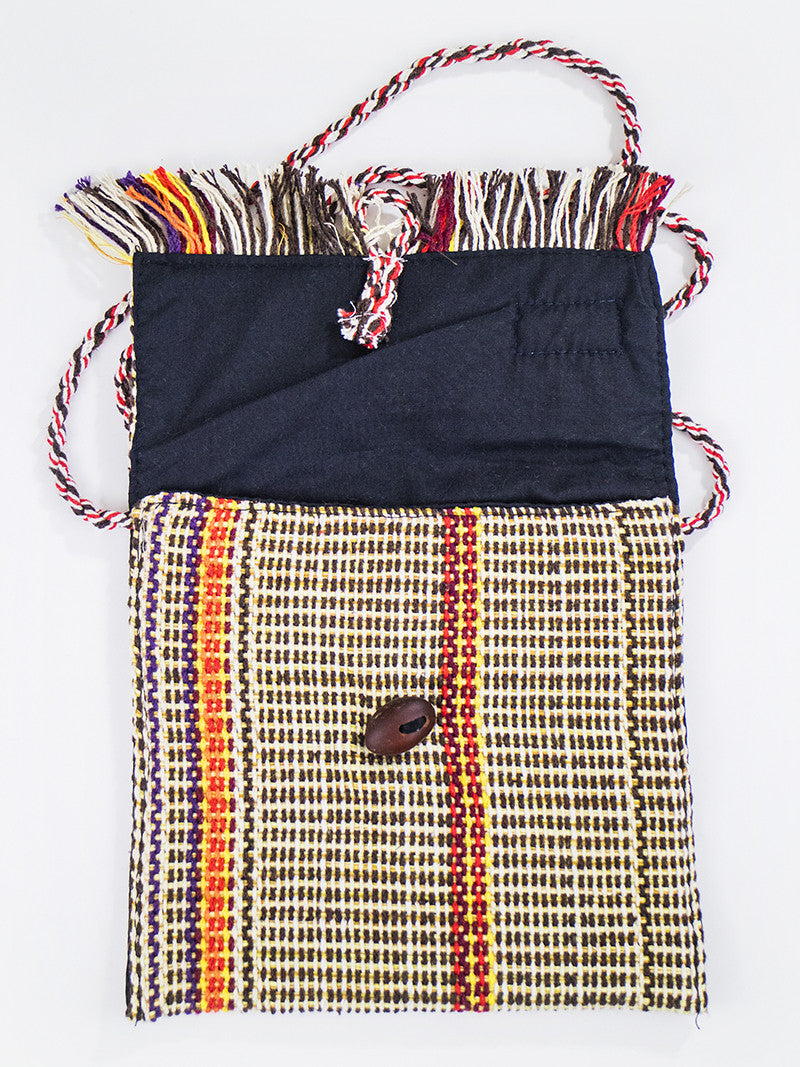 Fringe small purse - yellow/brown/red