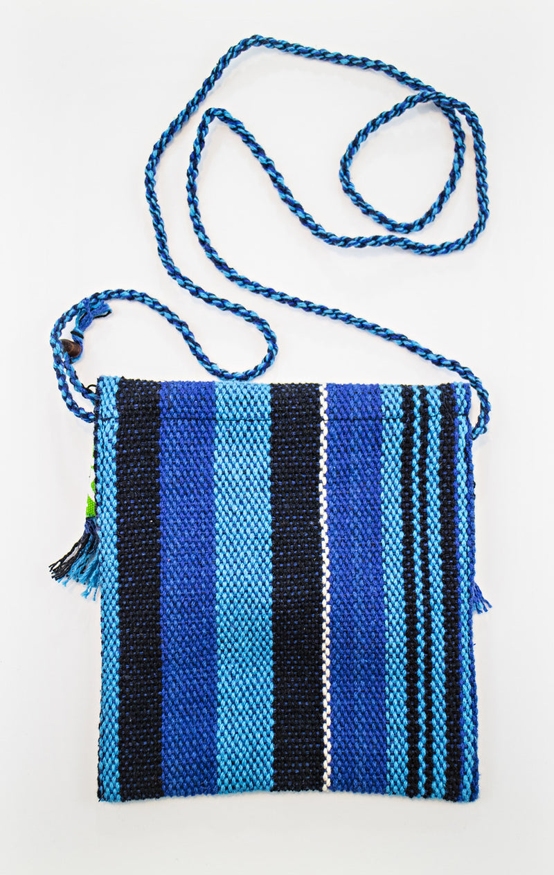 Fringe small purse -  light blue/ dark blue / black