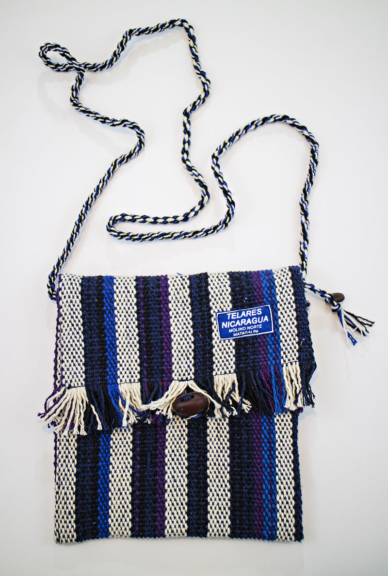 Fringe small purse - blue / purple / white
