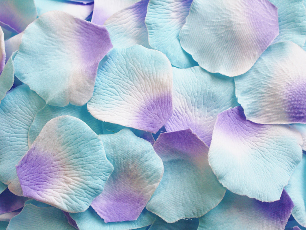 3-Tone Blue, White, and Purple Silk Rose Petals, 200 count