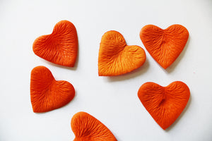 Carrot Heart Shaped Silk Rose Petals
