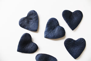 Navy Heart Shaped Silk Rose Petals