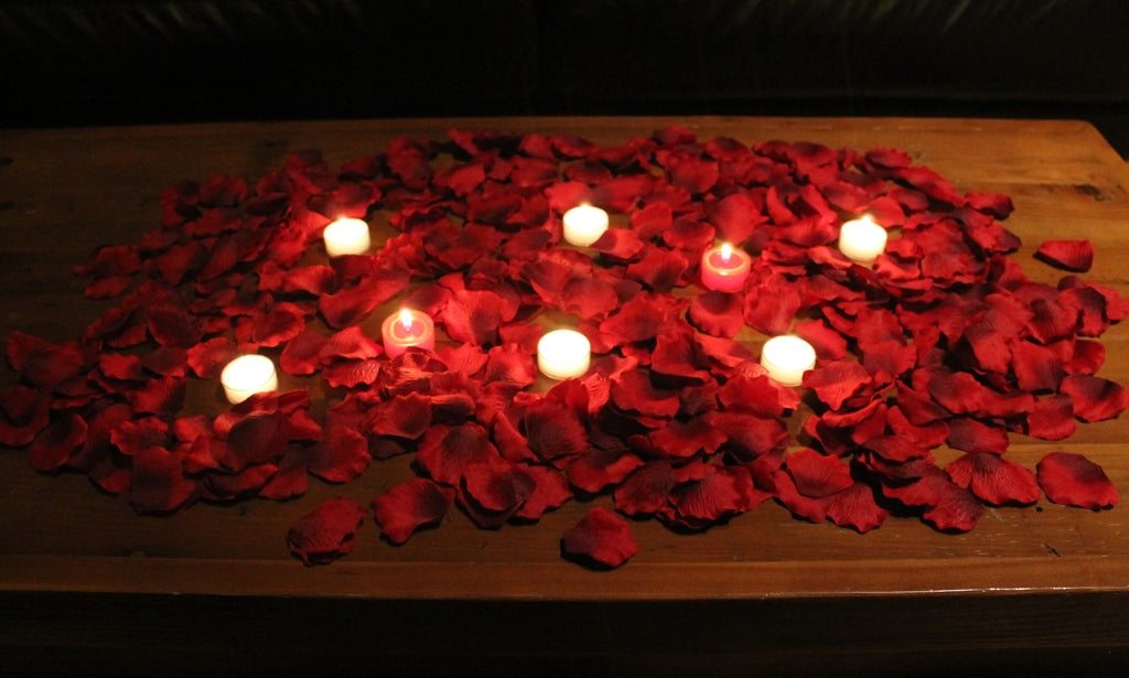 Romantic Silk Rose Petal Package with Candles - Burgundy