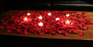 REAL Red Rose Petals, 10 cups + candles
