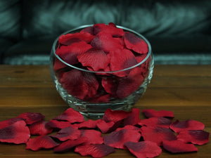 Floating Burgundy Silk Rose Petals, 100 petals