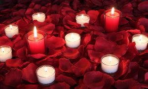Romance 2000, Red Silk Rose Petals + candles
