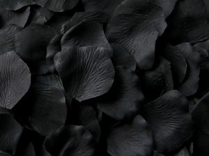 Floating Black Silk Rose Petals, 100 petals