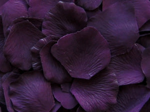 Floating Eggplant Silk Rose Petals, 100 petals