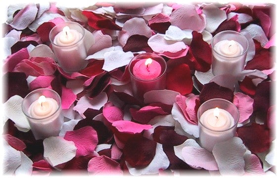 Romance 1000 - Choose Your Color of Silk Rose Petals + candles