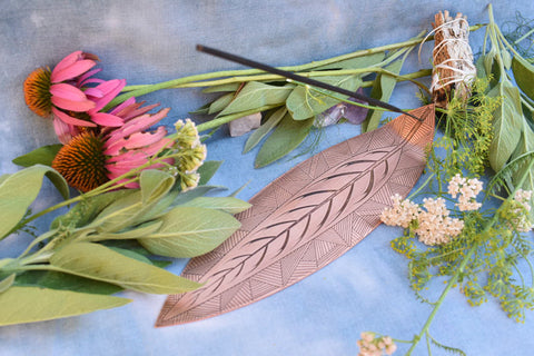 SAGE leaf copper incense holder
