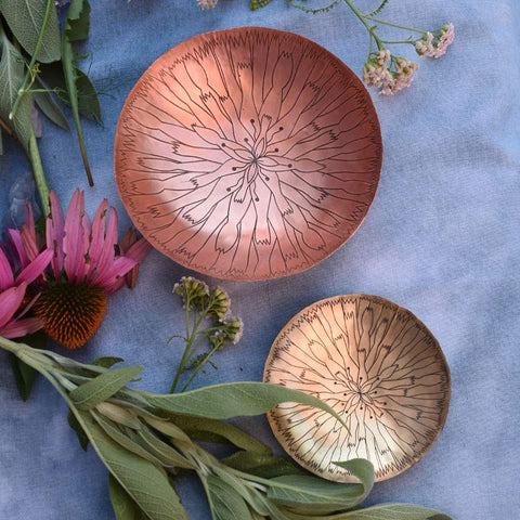 Copper Dandelion Mandala Smudge Bowl