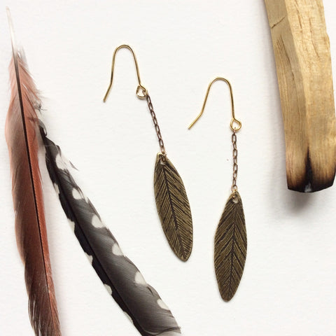 palo santo // etched brass feather dangle earrings
