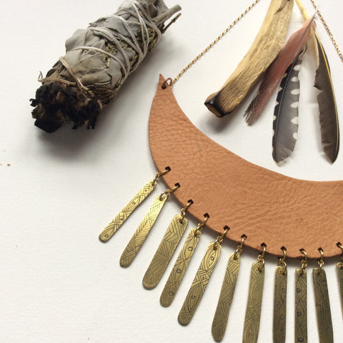 Leather bib necklace with etched brass fringe