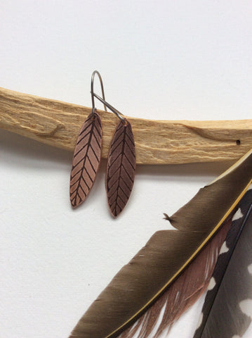 palo santo // etched copper small feather earrings